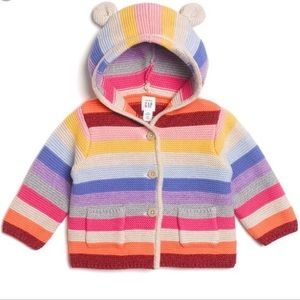 Baby GAP Colorful Striped Knit Sweater With Ears
